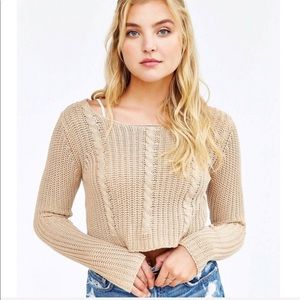 UNIF x Urban Outfitters Crop Cable Knit Sweater